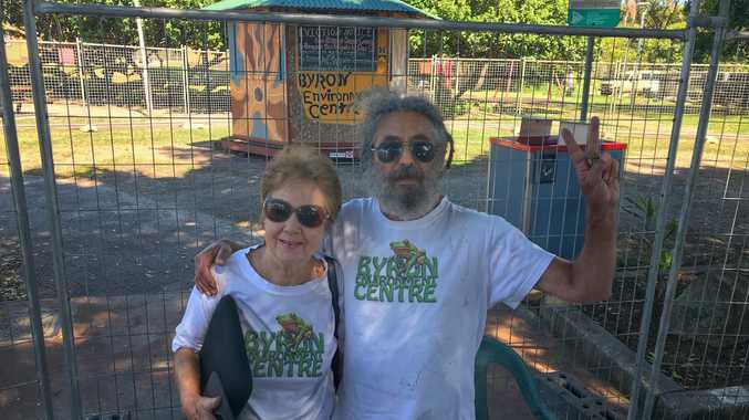TOTALLY LOCKED OUT: Volunteers at the Total Environment Centre in Railway Park Byron Bay arrived for work on Wednesday morning to find the rotunda surrounded by a fence. Pictured are: Nino MacDonald and John Lazarus.