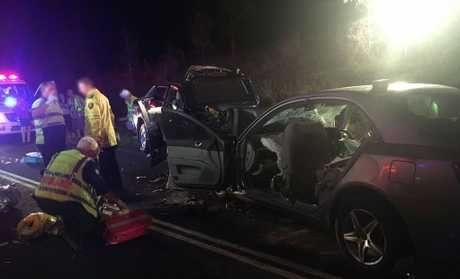 A head-on collision has left four people seriously injured, including a mother and her daughter, after their cars collided near Munbilla, outside Kalbar, last night.