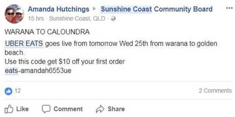 EXPANDING: The promo being spruiked about UberEATS expanding on the Sunshine Coast today.