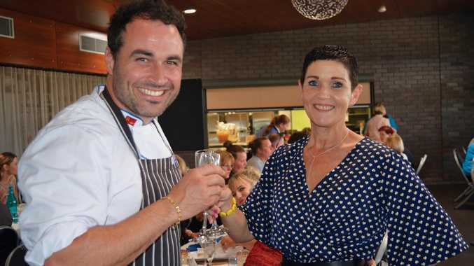 CHEERS: Miguel Maestre and Lockyer Valley Regional Council Mayor Tanya Milligan at the cooking event held on Sunday morning at Faith Lutheran College, Plainland.