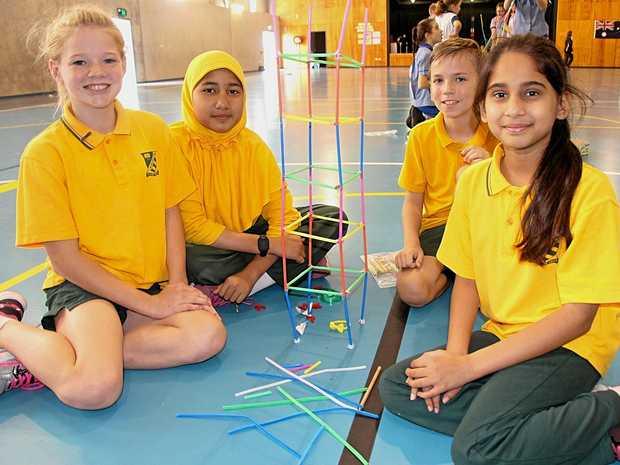 STRUCTURE IDEAS: Year 5 students Mercia Zillmann, Nisa Khaerunnisa, Declan Taylol and Ayesha Salman were determined to make the highest-reaching tower.