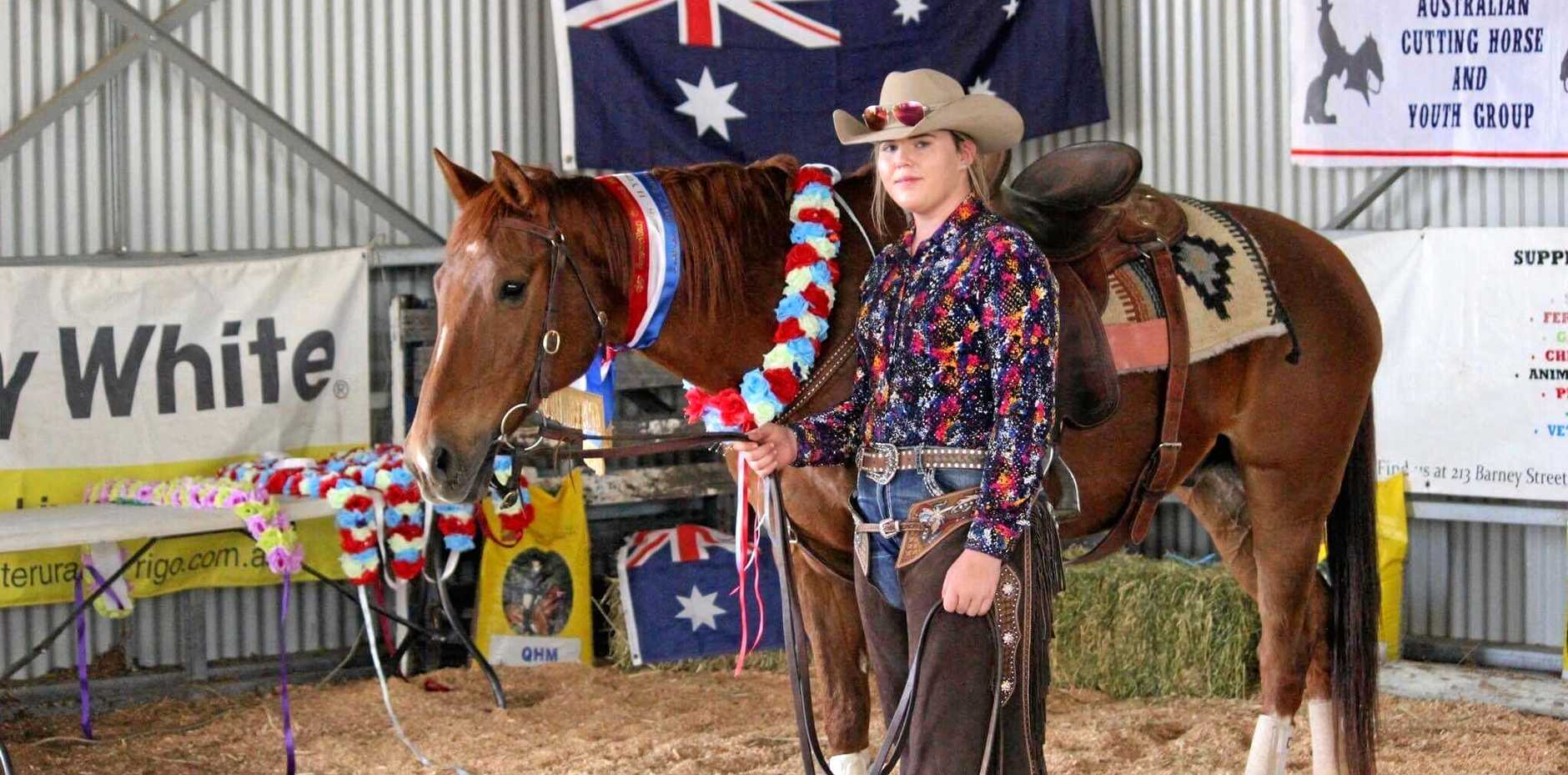 CUT OUT FOR THIS SPORT: Faith Lutheran College student Callie Malmborg took out Youth Champion for the 8-14 age group at the Australian Cutting Horse and Youth Group competition  on her horse Fly.