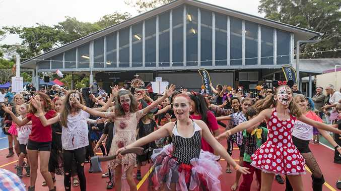 SPOOKY STUDENTS: Brunswick Heads Public School students doing the time warp. The children sing, dance and put on other performances at the Halloween Fair this Saturday.