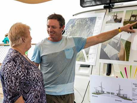 Cr Adam Belot talks with a resident at a Wreck Point consultation.