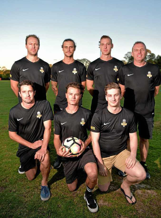 ON BOARD: From back left, Michael Scarff, Taylor Walkinshaw, Denver Crickmore, coach Matt Chandler, front, Leon Dwyer, Kayden Oakes and Karl Vonhoff. The Wanderers will compete in the Queensland Premier League.