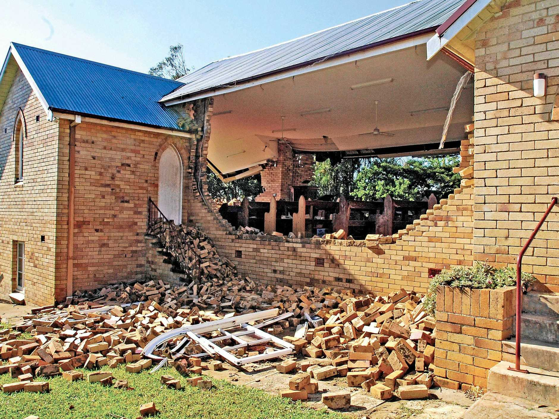 St Matthews Anglican Church in Dunoon had three of it's walls blown out by the tornado.