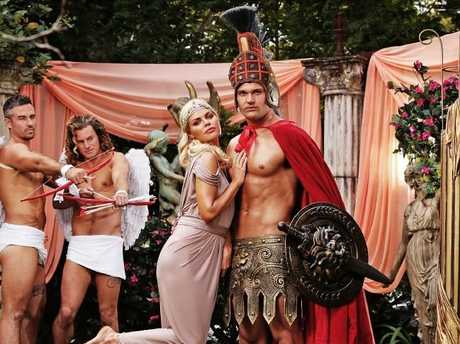 Sophie Monk and Apollo Jackson participate in a Gladiator-themed photo shoot. Picture: Sam Ruttyn.