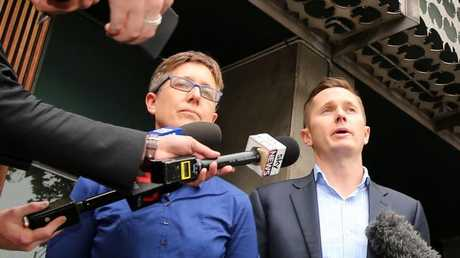ACTU Secretary Sally McManus and AWU National Secretary Daniel Walton speak to the media about raids on union offices in Melbourne. Picture: Stuart McEvoy