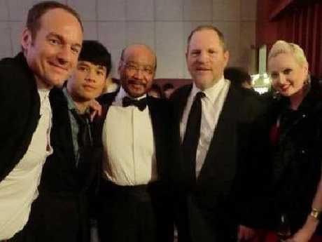 L-R: Hong Kong movie producer Ben Logan, unknown, Hong Kong actor Andrew Ng, Harvey Weinstein, Riely Saville and Caitanya Tan.