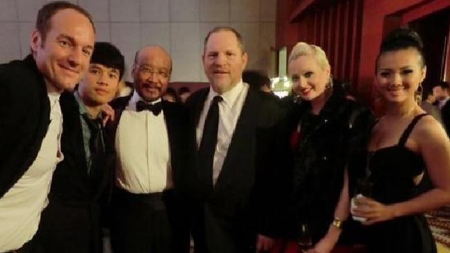 L-R: Hong Kong movie producer Ben Logan, unknown, Hong Kong actor Andrew Ng, Harvey Weinstein, Riely Saville and Caitanya Tan.