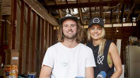 Elyse and her partner Josh on The Block. Pic: Supplied / Nine