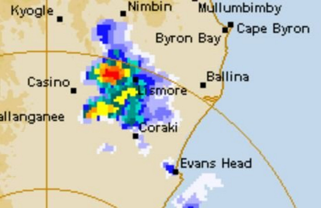 Radar map over the Northern Rivers.
