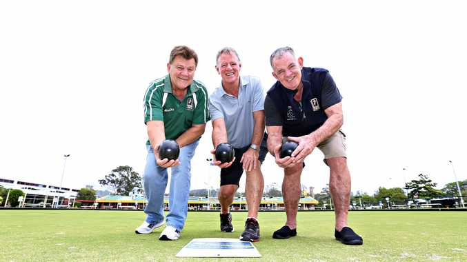Former league stars Greg Cox, Mick Ryan and Peter Ryan at Coolangatta ahead of the Men of League Bowls Day at Coolangatta Bowls Club on Sunday, October 29