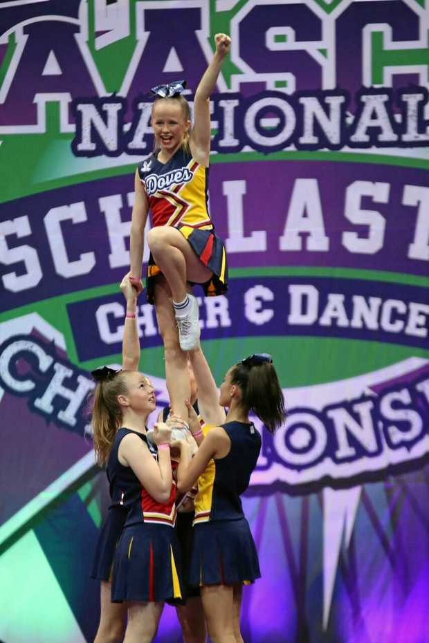 HIGH POINT: A liberty stunt performed by Georgia, Molly, Kaelah, Charlize and Jane.