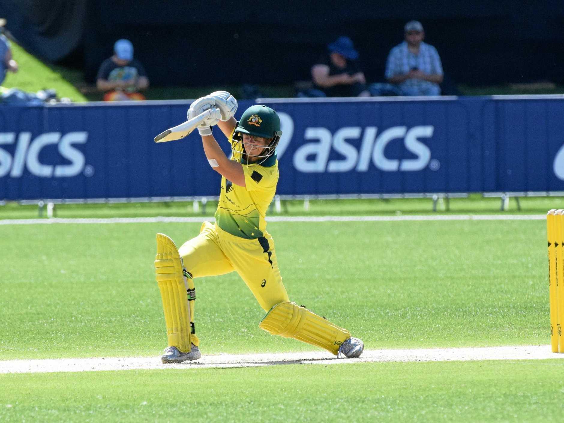 Australian opening batter Nicole Bolton steps into a drive against England. Photo: Brad Greenshields/Coffs Coast Advocate