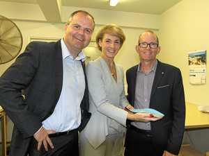 Member for Fairfax Ted O'Brien MP, Employment Minister Senator Michaelia Cash and Sunshine Coast podiatrist Dan Everson at the Marcoola factory Kinetics Orthotics.