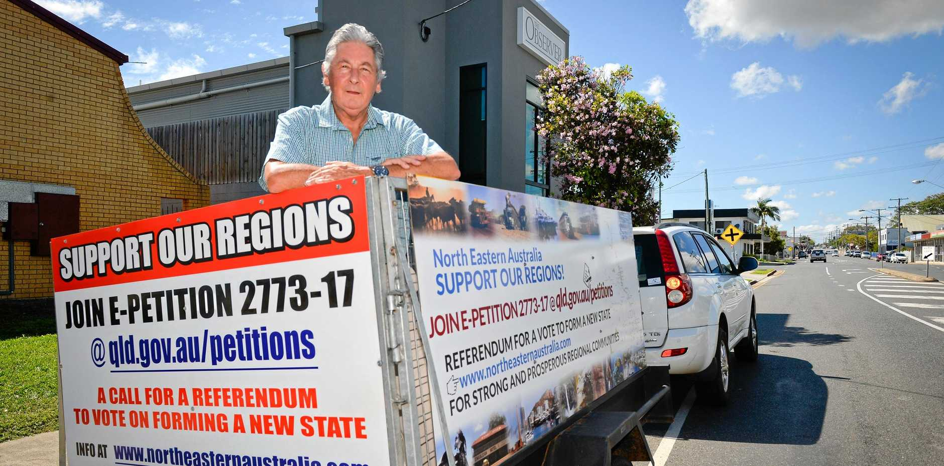 STATE QUESTION: Bill Bates has taken his message on the road to help drum up interest and support for his petition to hold a referendum on forming a new state.