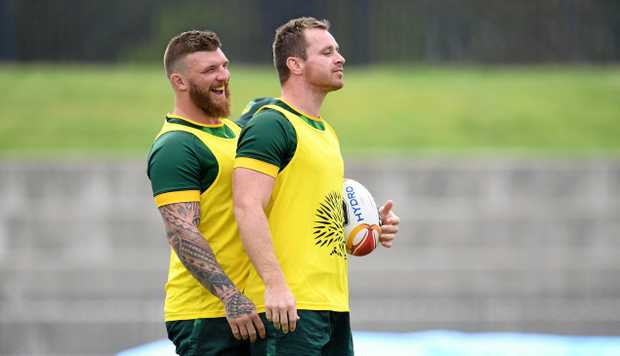GETTING READY: Josh McGuire (left) and Michael Morgan prepare for England.