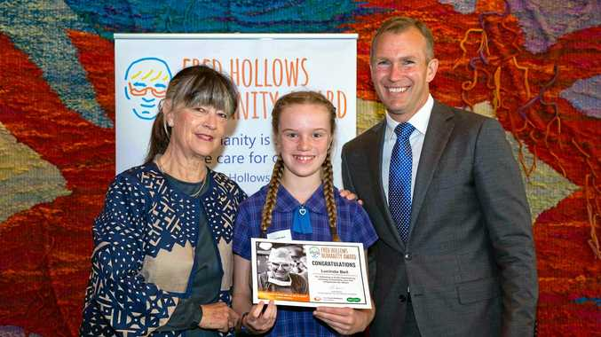 ABOVE: Rosebank Public School Student, Lucinda Bell received a Fred Hollows Humanity Award in Sydney on Mondayi Hollows with Lucinda Bell and NSW Education Minister Rob Stokes.