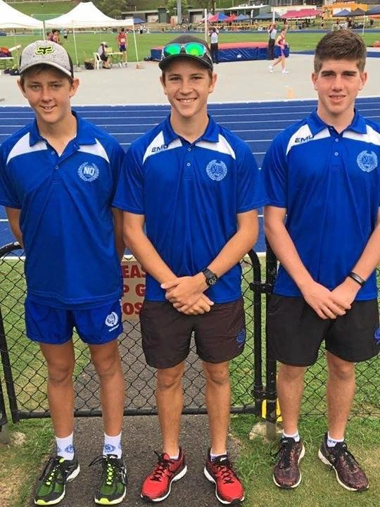 TOP PERFORMERS: Proserpine students Cooper Lane, Jayden Lane and Howard McDonald competed at athletics championships in Brisbane