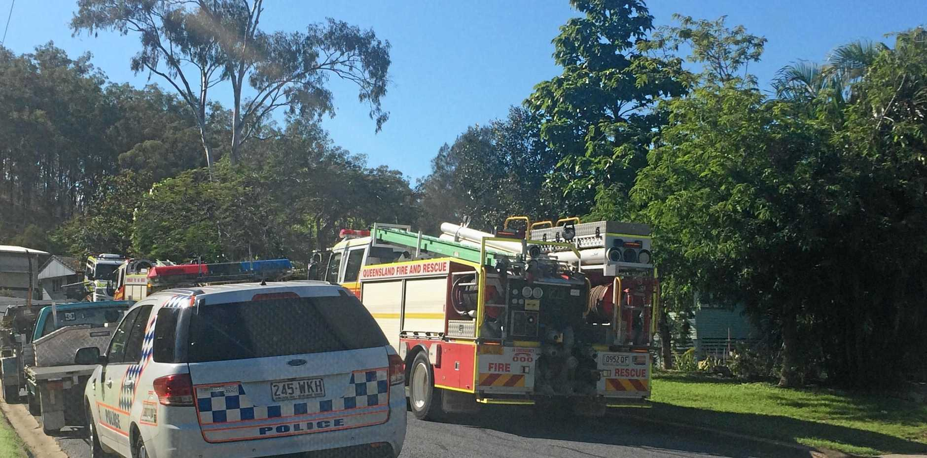 Fire crews at the scene of a house fire in West Gladstone.
