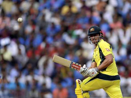 Marcus Stoinis batting for Australia earlier this month in India.