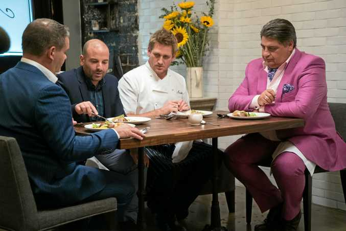 Chef Curtis Stone, second from right, pictured with MasterChef judges Gary Mehigan, George Calombaris and Matt Preston in his LA restaurant Maude. Supplied by Channel 10.