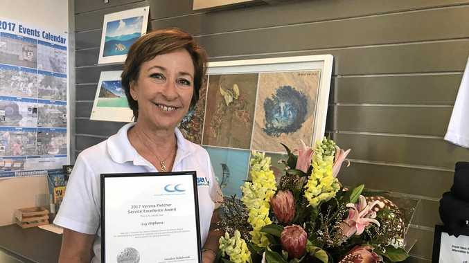 Hervey Bay Visitor Information Centre tourism officer Liz Stephens won the 2017 Verena Fletcher award.