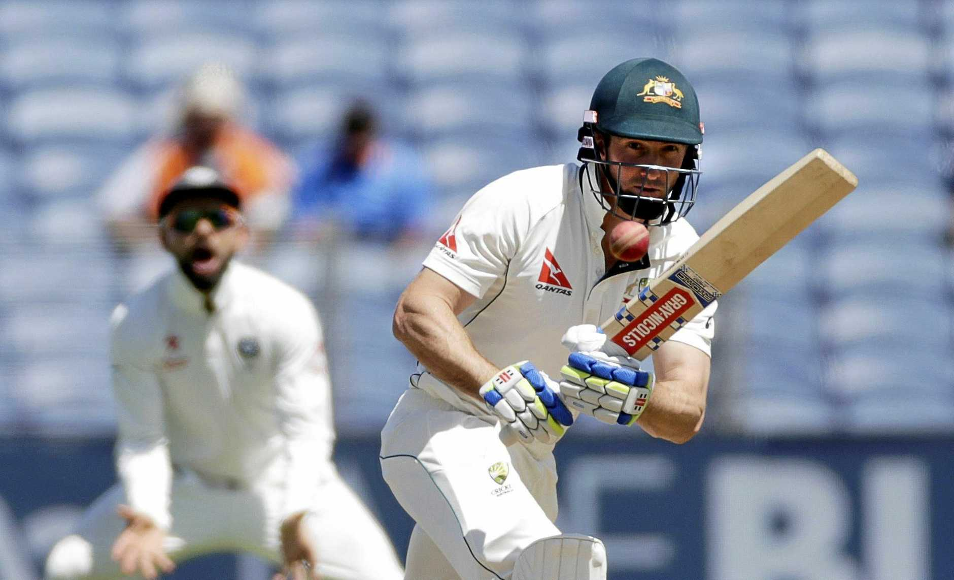 Australia's Shaun Marsh bats on the first day of the first cricket test match against India in Pune, India, Thursday, Feb. 23, 2017. (AP Photo/Rajanish Kakade)