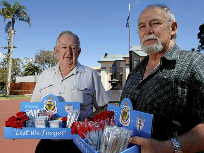 POPPY DAY: Lismore RSL Sub-branch will be giving away poppies on Remembrance Day this year as the NSW RSL has banned all Sub-branch fundraising. Back in 2010 Lismore members Chas Clifford and Darryl Hawke raised funds for Legacy Week with the sale of poppies and Legacy badges.
