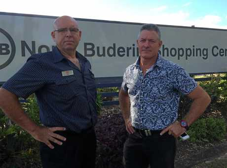 BEN Crous, North Buderim IGA owner (left) and Dale Massey, North Buderim Shopping Centre owner fear the impact of a full line supermarket that's been approved on appeal opposite on Jones Road.