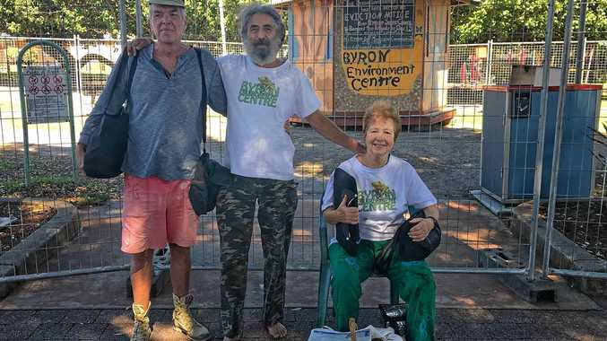 TOTALLY LOCKED OUT: Volunteers at the Total Environment Centre in Railway Park Byron Bay arrived for work on Wednesday morning to find the rotunda surrounded by a fence. Pictured are: Nino MacDonald, John Lazarus and  Marie Hayes.