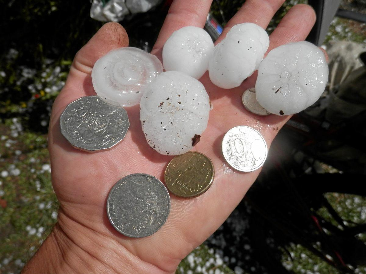 Hail has been reported at Coopernook this afternoon as thunderstorms track towards the Coffs Coast.