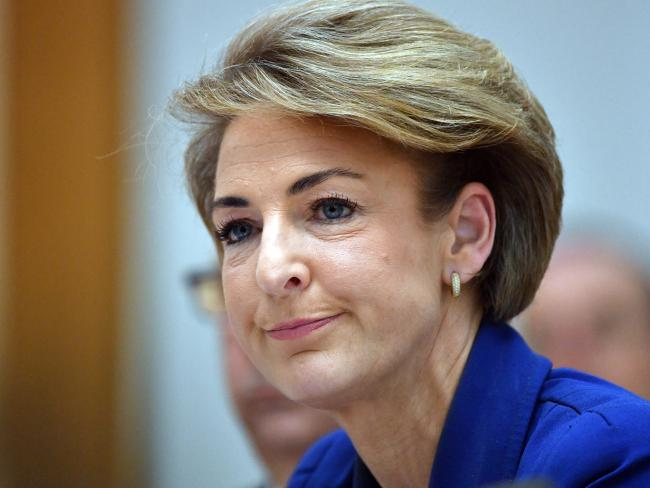 Michaelia Cash told the estimates hearing her staffer had leaked information about the raid after denying her office was involved five times. Picture: AAP