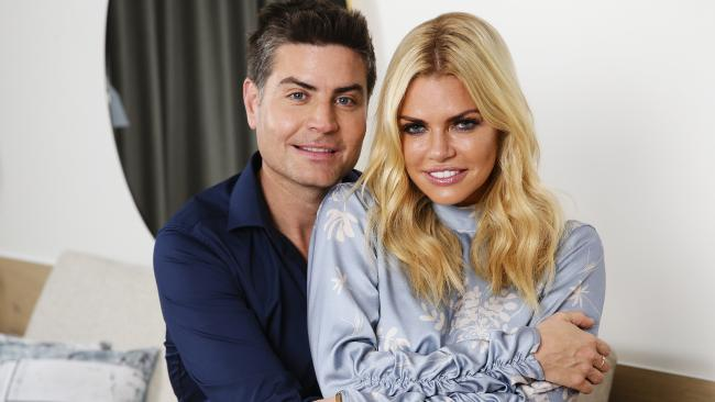 Sophie Monk cuddles up to Bachelorette winner Stu Laundy. Picture: Justin Lloyd.