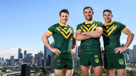 Cooper Cronk, Cam Smith and Billy Slater will play alongside each other for the final time in Melbourne. Picture: Grant Trouville © NRL Photos