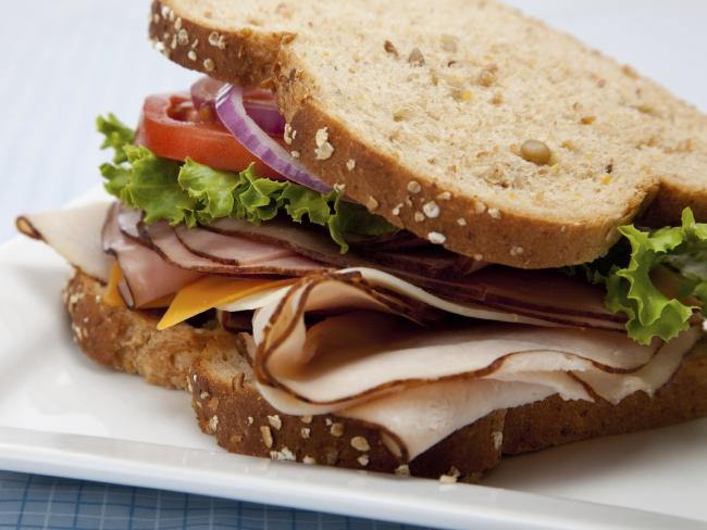 A simple salad and turkey sandwich on wholemeal bread is a good option for lunch. The fibre adds bulk to your meals and will help keep you full.