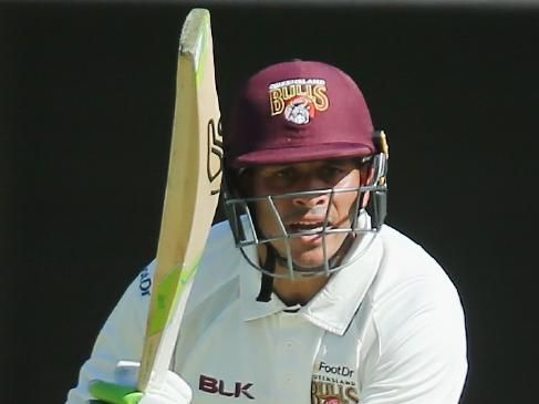 Usman Khawaja in action for Queensland against Victoria on Thursday.