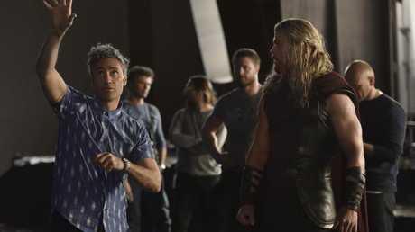 On set with Chris Hemsworth. Photo: Jasin Boland/Marvel Studios