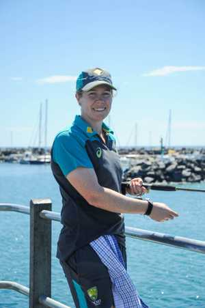 Alex Blackwell loves to try and catch a fish wherever she goes and has used this part of the Women's Ashes series to test her skills off Coffs Harbour Jetty.
