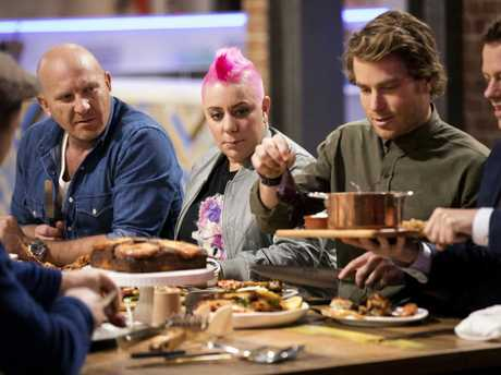 The Family Food Fight judges sit down to a feast. From left, Matt Moran, Anna Polyviou, Hayden Quinn and Tom Parker Bowles.