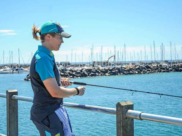 Australian women's cricket team vice-captain Alex Blackwell loves fishing almost as much as she loves playing for the Southern Stars. Here she is dropping a line off the end of the Coffs Harbour Jetty.