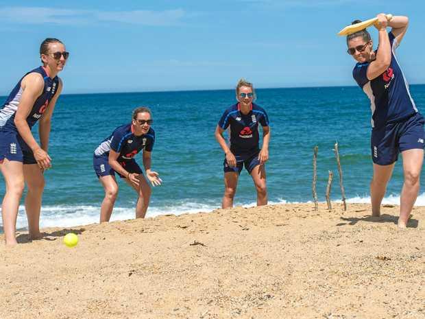 England women's cricket team members Fran Wilson, Laura Marsh, Danni Wyatt and Tammy Beaumont play some beach cricket in Coffs Harbour.