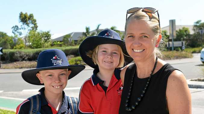 COMPUTER LEARNING: Brightwater State School parent Rebecca Urquhart and her children Jack, 9 and Ella, 5. Mrs Urquhart believes the school's use of technology in classrooms is positive for her children's education.
