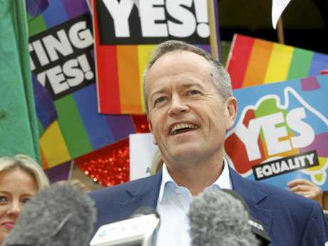 Federal Opposition Leader Bill Shorten speaks at a rally in support for marriage equality in has thrown his support behind the