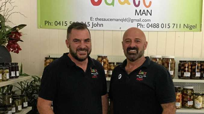 SAUCE MEN: Nigel Squibb and John Whitley have set up shop in the Maidenwell Trading Post.