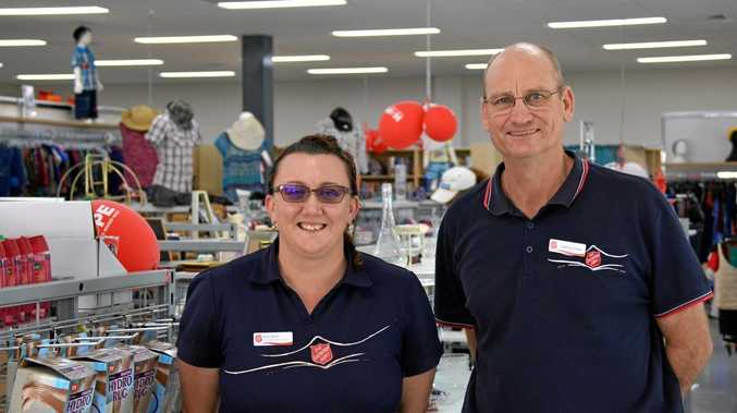 COME ON IN: Kylie Birch and store manager Geoffrey Folker at the new Salvation Army store in Kingaroy St.
