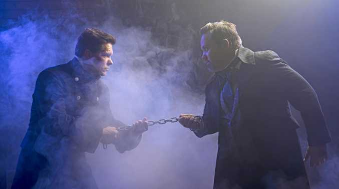 FACING OFF: Javert, played by Lachlan Scheuber, with Jean Valjean, performed by Brad Villiers.