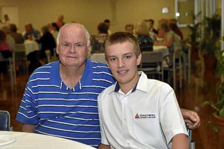 Graham Stevens (left) and Dustin Burton. Concordia College grandparents day. October 2017