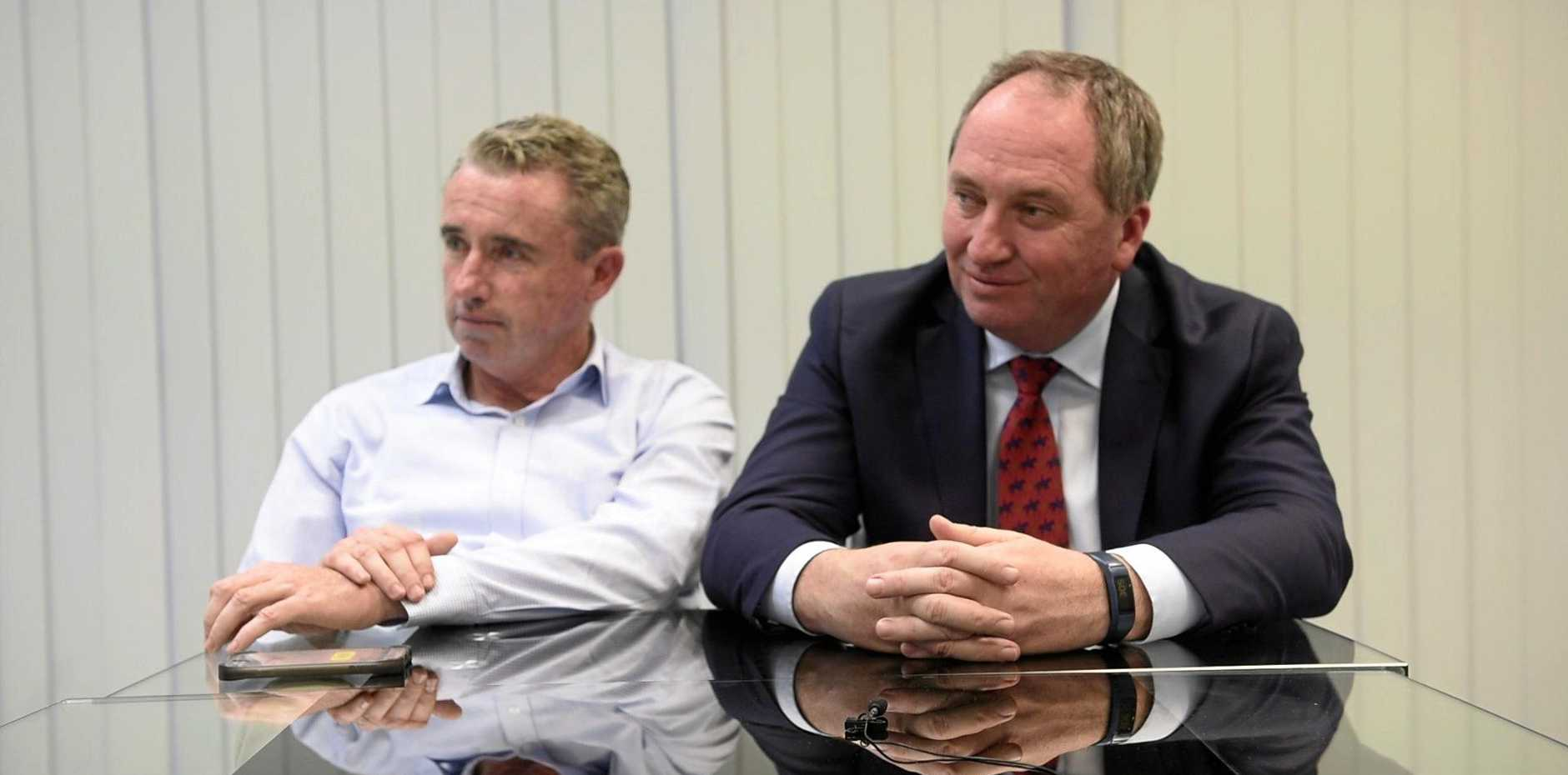 UP IN AIR: Member for Page Kevin Hogan with Barnaby Joyce.